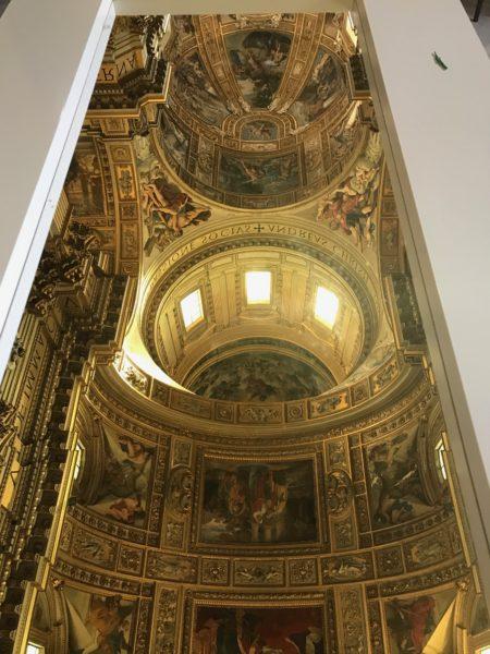 part of ceiling of Gesú Church in mirror