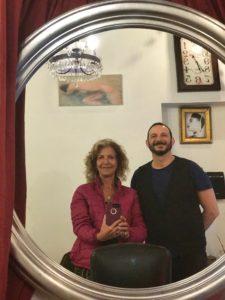 Aysha Griffin with Stefan Cillavi, hair stylist Rome.