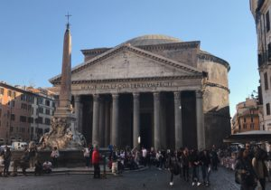 Pantheon from Piazza della Rotonda, continuously a gathering place for 2,000 years.